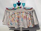villagesdeprovence.net - Mantel de Mesa Indio, diseño de atrapasueños, Color Gris Claro, Rectangular o Redondo, Antimanchas, 100% poliéster, Gris, 160 cm de diamètre