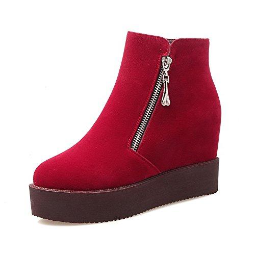 AllhqFashion Damen Reißverschluss Hoher Absatz Knöchel Hohe Stiefel mit Metallisch, Rot, 34