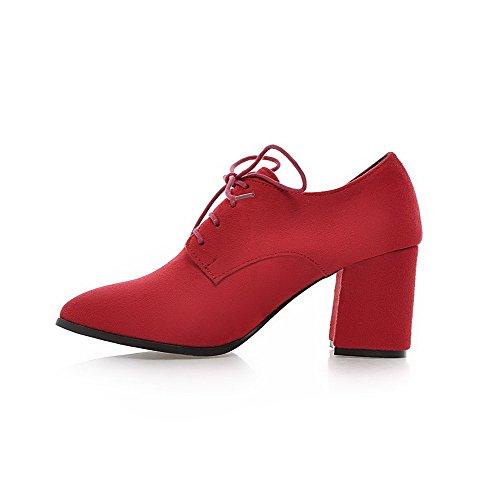 AllhqFashion Femme Dépolissement Couleur Unie Lacet Pointu Fermeture D'Orteil à Talon Haut Chaussures Légeres Rouge