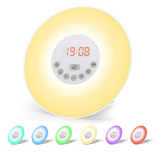 Luces-despertador, omitium Wake Up Light Despertador Luz Simulación de Amanecer y Atardece/ 6 Luces LED de Colores/Radio FM/Función Snooze/ 6 Sonidos Naturales/ 10 Niveles de Brillo
