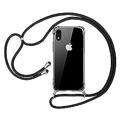 opamoo Handykette iPhone XR, iPhone XR Handyhülle mit Kordel Necklace Schnur Stoßfest Fallschutz Bumper Silikon Schutzhülle mit Band Anti-Scratch Umhängen Necklace Hülle für iPhone XR Case mit Schnur