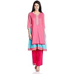 Rangriti Women's Kalidar Kurta (PATTAKRA4184_Pink_34)