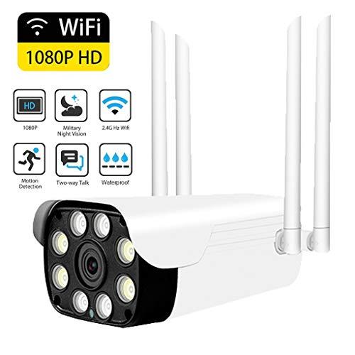 Full HD 1080P IP Kamera,Ton und Licht Warnung Wireless WiFi Wasserdichte Sicherheit SD Karte IP Kugel Kamera,128G TF Karten,IR Nachtsicht 2-Wege-Audio Cloud Speicher mit Ständer für Onvif (WHITE) Wasserdichte Audio