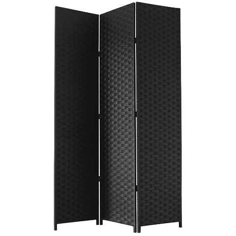 JVL Free Standing Woven Paper Folding Decorative Screen - Black