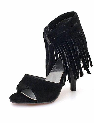 WSS 2016 Chaussures Femme-Habillé-Noir / Vert / Rouge / Amande-Talon Aiguille-Bout Ouvert / Bride de Cheville-Sandales-Similicuir red-us5.5 / eu36 / uk3.5 / cn35