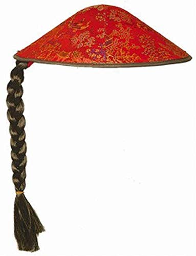 O23316 rot-schwarz mit Zopf Kinder Damen Herren China Hut Chinesenhut