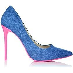 High Heels Jeans-Optik Stiletto Pumps Neon Abendschuhe Party Damenschuhe 35-40 EUR 37 Blau