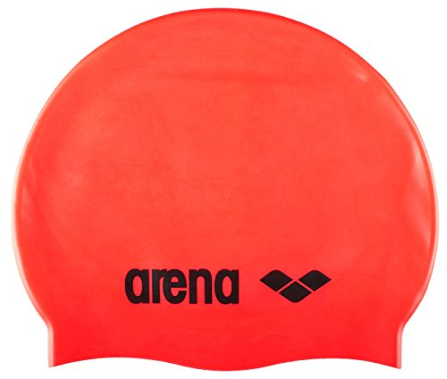 arena Unisex Badekappe Classic Silikon (Verstärkter Rand, Weniger Verrutschen der Kappe, Weich), Fluored-Black (40), One Size -