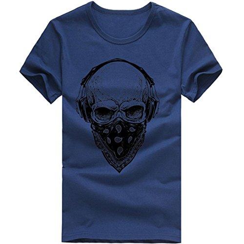 Elecenty Herren T-shirt ,Polo Blusen Pulli Blusentop Männer Kurzarm-Shirt Sommerhemd Tops Haushemd Mode Drucken Pullover Freizeithemd Bluse (L, Marine) (Polo Button-down Shirt Gestreift)