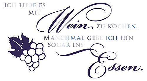 Wandtattoo Pastell Ich liebe es, mit Wein zu kochen Humor Deko blau
