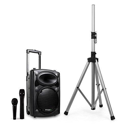 Ibiza port8vhf-bt sistema audio pa portatile con subwoofer e bluetooth + stativo cassa (400 watt, ingressi usb sd mp3 con funzione recording, 2 microfoni, batteria integrata, telecomando) - nero