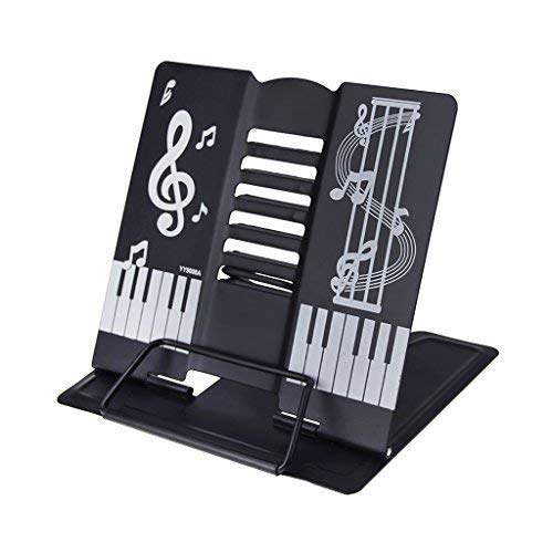 Steg-Lesung Kochbuchständer Metall-Format Piano Notenständer faltbar mit tech-cuisson Holzbock zu lesen für Anpassen Position von Lesung schwarz