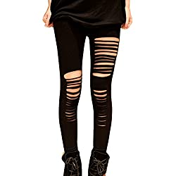 Gladiolus Pantalones Mujer Pantalones Rotos Pantalones Leggings Elástico Skinny Leggings Slim Negro XL