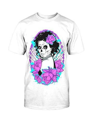 Girl Muerte T-Shirt Neu Fun Catrina Mexican Rockabilly Old School Retro Fashion Weiß
