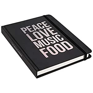 Instanote 2019 Dated Daily Planner - Your Personal Goal Planner and Daily Organizer (Peace Love Music Food Black Cover Multicolor Foiling)