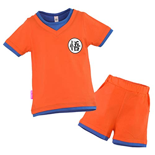 Shorts Kostüm Orange - papapanda Kinder Dragon Ball Son Goku Kostüm T-Shirt Shorts Trainingsanzug Orange Blau (120 (EU116))