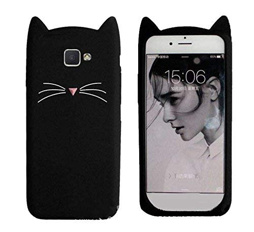 Aarnik 3D Cute Cat Soft Silicon Back Cover for Samsung Galaxy J7 Prime/On Next / On7 Prime (Black)