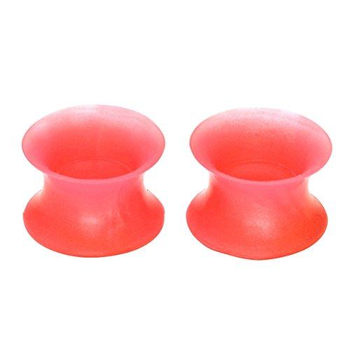 PiercingJ - 2PCS Boucle d'Oreille Ecarteur Expandeur Fin Mince Silicone Flexible Souple Creux Plug Tunnel Tambour Taper Flesh Corail 3mm - 20mm 10mm