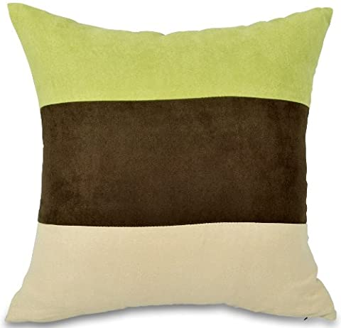 Lime Green, Brown & Cream Faux Suede 18