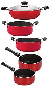 Nirlon 3 Layer Non-Stick Coated Gas Compatible Kitchenware Utencils Gift Set, 5 Piece Set