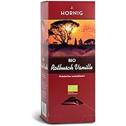 J. Hornig Bio Rotbusch Vanille | Tee im Triangel-Teebeutel | Kräutertee aromatisiert | mit Bio-Zertifikat | 25 Tee-Sachets | Filtermaterial 100% biologisch abbaubar