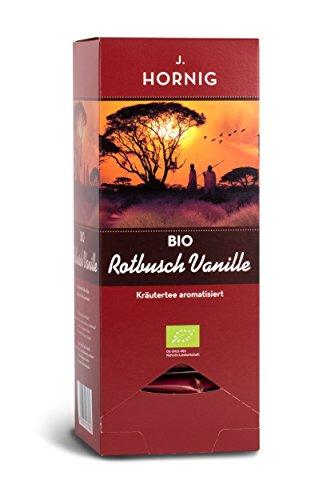 J. Hornig Bio Rotbuschtee Vanille, Tee im biologisch abbaubaren Pyramidenteebeutel, 25 Tee-Sachets, aromatisierter Rooibos Tee mit Vanillestücken