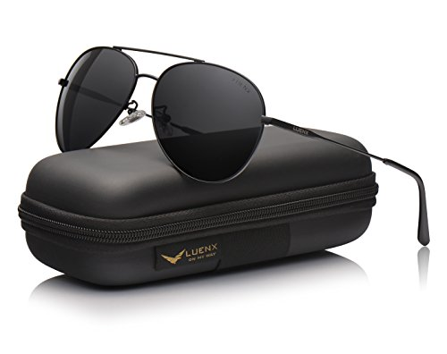 LUENX Polarized Sunglasses For Men Women with Accessories- All black UV 400 Protection 59mm