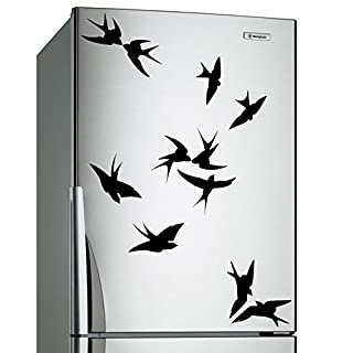 AnOL (60x48 cm) Vinyl Wall Decal Flock of Birds Silhouettes/Nature Art Home Decor Sticker/DIY Design in Living Room Mural + Free Random Decal Gift