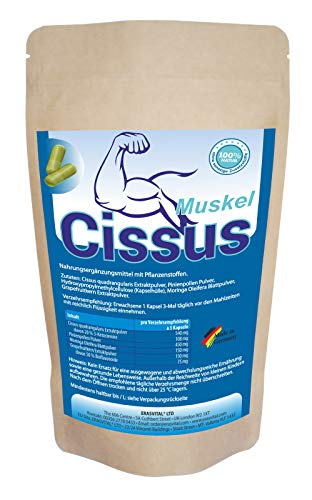 ERASVITAL LTD CISSUS Muskel 270 Kapseln = 140g Cissus Quadrangularis mit 20% 3-Ketosterone VEGAN HOCHE BIOVERFÜGRARKEIT durch weitere Begleitsubstanzen I Premium Qualität