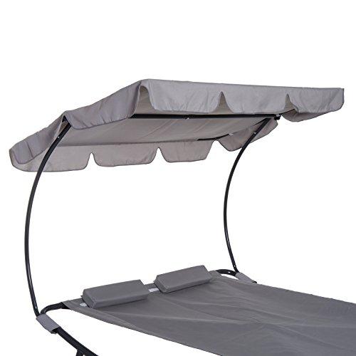 Outsunny Doppelliege Sonnenliege Relaxliege rollbar mit Dach Stahl Grau 200 x 173 x 155cm - 8