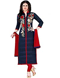 Jheenu Women's Navy Blue Glass Cotton Unstitched Dress Materials