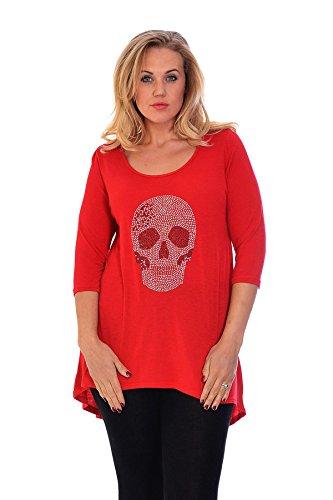 Neues Damen Übergrößen T-Shirt Totenkopf Shirt Frauen Top Ladies Plus Size Nouvelle Collection 1107 (Größe 54-56, Rot)