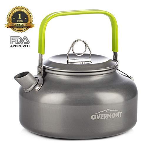 Overmont Camping Wasserkocher Kessel Teekanne Kaffeekanne Tragbar Aluminium FDA genehmigt für Outdoor Picknick Wandern 0,8I (Gewicht Kessel)