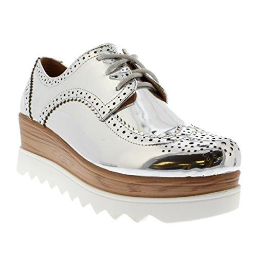 Damen Keilabsatz Brogue Gehärtete Sohle Schick Mode Pumps Oxfords Schuh Silber/Weiß