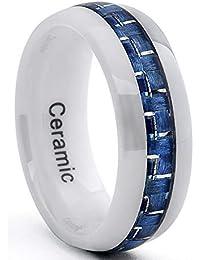 Ultimate Metals Co. Alliance Ceramique Blanche Avec Incruste Fibre de Carbone Bleu Pour Homme