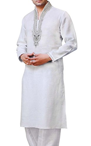 INMONARCH Mens weiße Bettwäsche Kurta Pyjama Stickerei halslose Stil KP1514 (Kurta Stickerei)