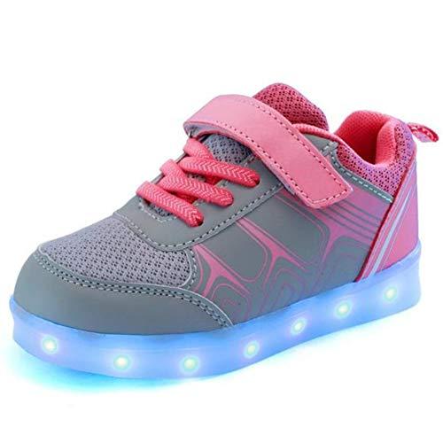 WQING Flashing Sneakers Kids LED Light Up Schuhe Leuchtendes USB-Ladegerät Glowing für Jungen Mädchen,Gray,30 -