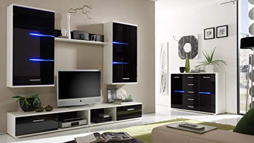 Wohnwand Anbauwand Schrankwand BEN, weiß mit schwarzen Glasfronten, inklusive LED-Beleuchtung