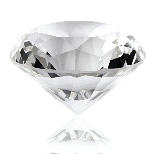 AKORD Big Crystal Glas geschliffen klar Giant Diamant Hochzeit Geschenke, 6x 6x 2,6cm (Briefbeschwerer Diamant)