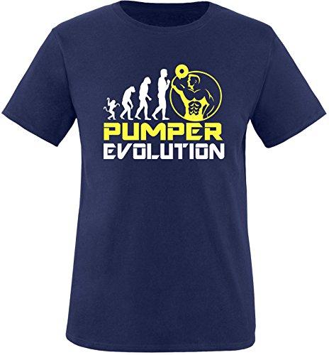 EZYshirt® Pumper Evolution Herren Rundhals T-Shirt Navy/Weiss/Gelb