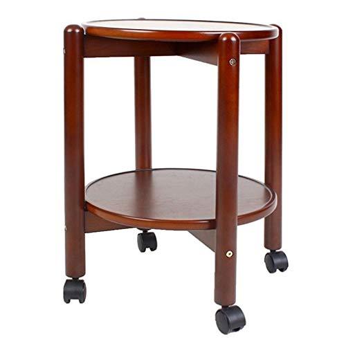 e Kleine Runde Tisch Couchtisch Doppel Lagerung Universal Rad Geeignet für Wohnzimmer Schlafzimmer Büroflächen (braun) ()