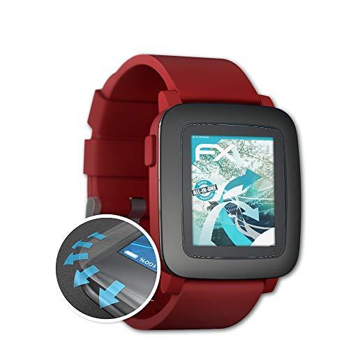 atFoliX Schutzfolie passend für Pebble Time Folie, ultraklare & Flexible FX Bildschirmschutzfolie (3X)
