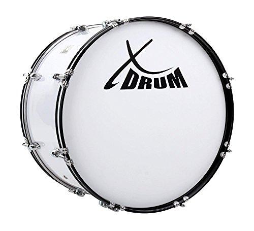 """XDrum MBD-222 Marsch Bass Trommel, Fußball Pauke 22"""" x 12"""" (7,5 kg, 4 Ösen, Spannschrauben, inkl. Paar Schlägel, Tragegurte, Stimmschlüssel) weiß"""