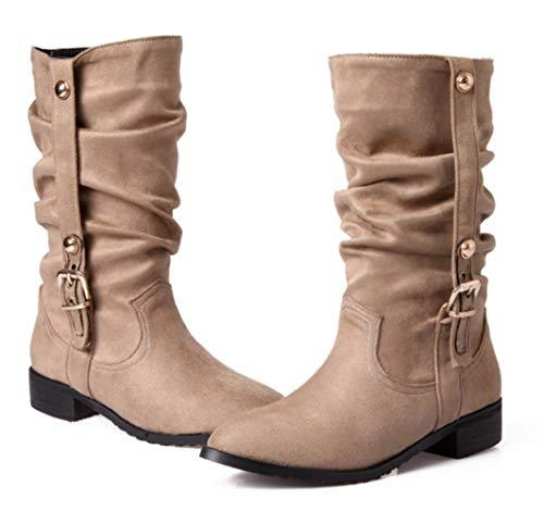 HRN Frauen Schnee Stiefel künstliche PU Spitze quadratische Ferse mittelrohr Stiefel niedrige Ferse verdicken warme einfarbig Ritter Stiefel Winter,Beige,40EU - Für Spitze Quadratische Stiefel Frauen,
