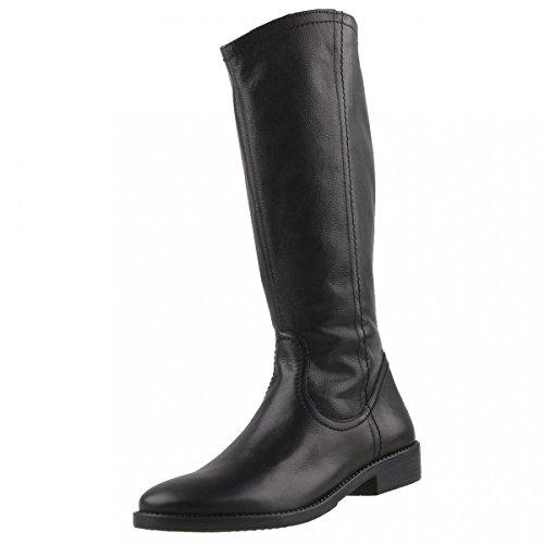 bottes en cuir Tamaris hautes bottes noires 1-25896-27 001 Noir Noir