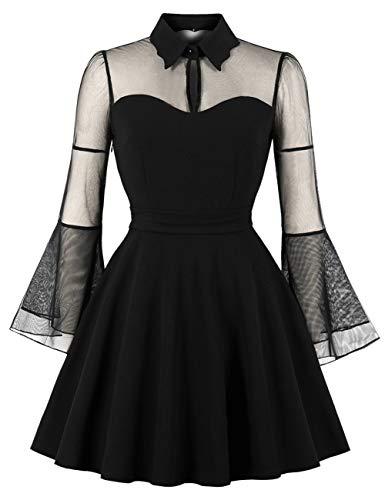 FeelinGirl Damen Kleid Knielang Elegant Vintage Cocktailkleid Partykleid Retro Dress Festlich...