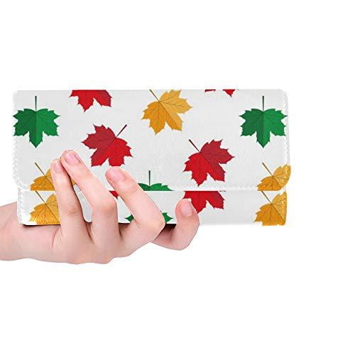 Einzigartige benutzerdefinierte Herbst Maple Leafs Frauen Trifold Brieftasche Lange geldbörse kreditkarteninhaber Fall Handtasche