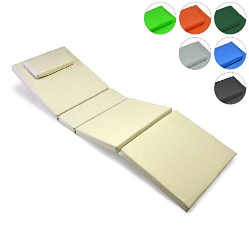 Nexos GL06020 Hochwertige Liegen-Auflage Sitz-Polster mit Kopfkissen für Sonnenliegen, Sauna,...