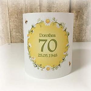 4er Set Tischlicht Tischlichter Kranz Blumen Kamillen Margeriten Bienen runder Geburtstag 40 50 60 70 80 90 Tischdeko personalisierbar grün gelb