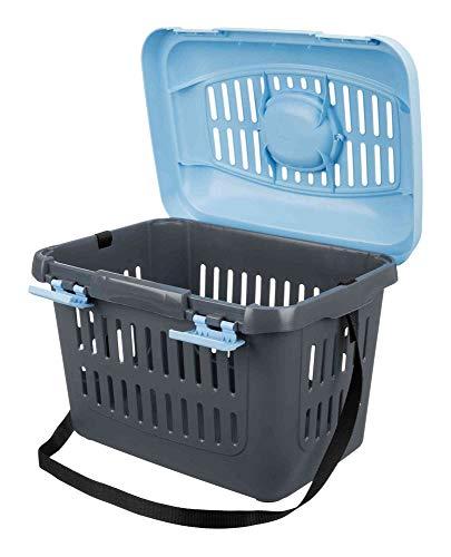 Trixie 3979 Midi-Capri Transportbox, 44 × 33 × 32 cm, blau/grau - 2